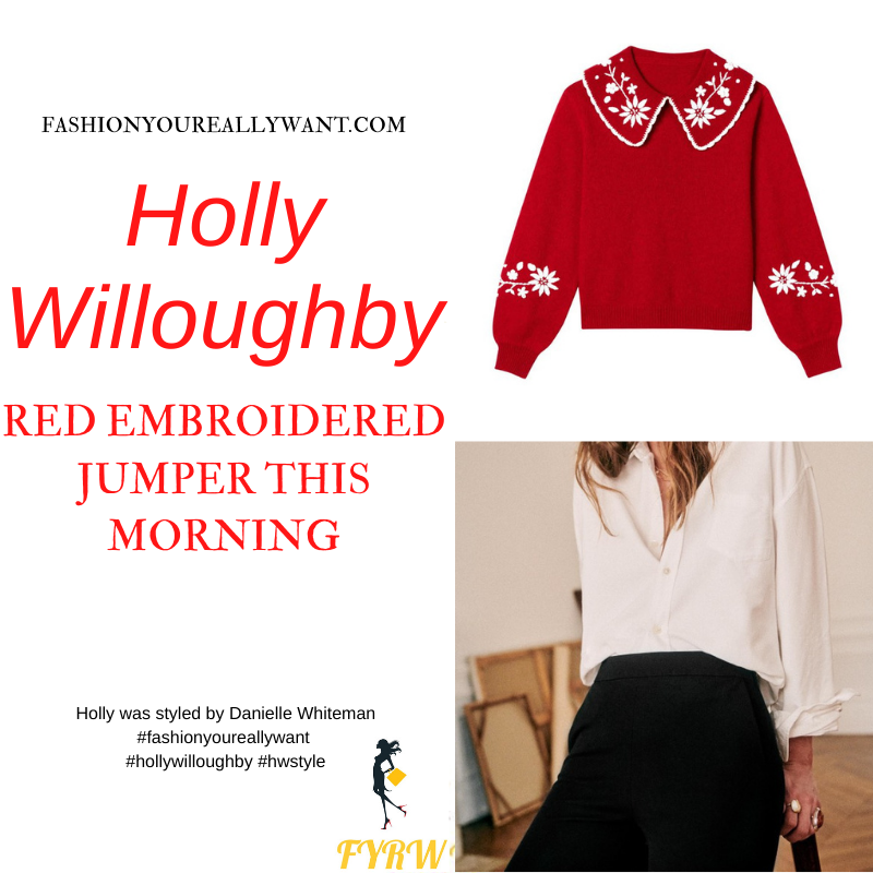 Where to get all Holly Willoughby This Morning outfits blog December 2020 red and whte embouderes knit with collar black slim trousers
