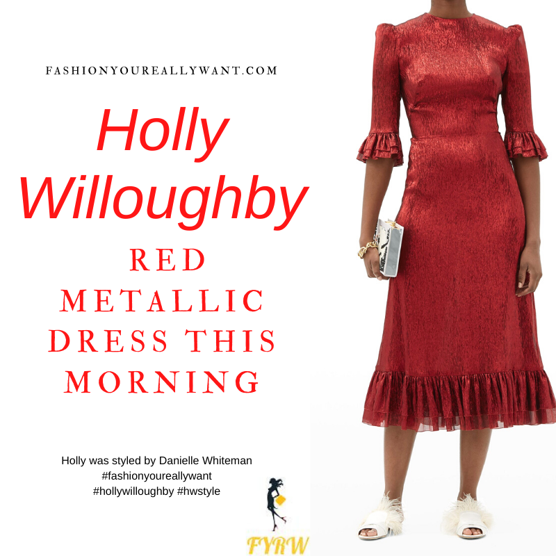 Where to get all Holly Willoughby This Morning outfits blog December 2020 red metallic ruffle midi dress black suede court shoes