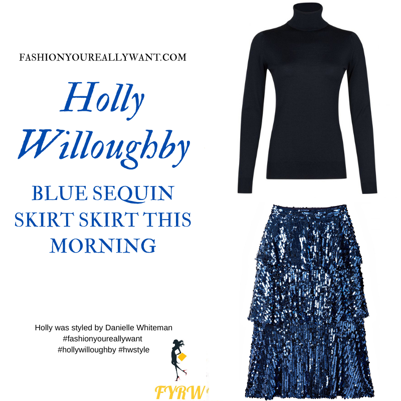 Where to get all Holly Willoughby This Morning outfits blog December 2020 blue sequin tiered skirt blue knit yellow jacquard embellished slingbacks