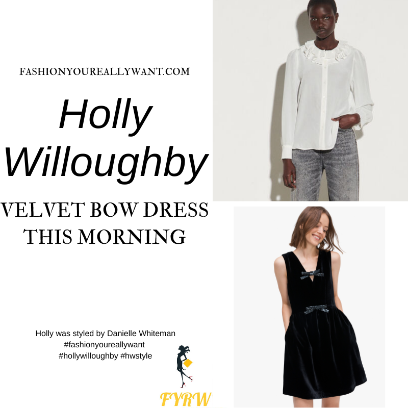 Where to get all Holly Willoughby This Morning outfits blog December 2020 black velvet and sequin bow dress cream ruffle collar shirt black buckle satin shoes