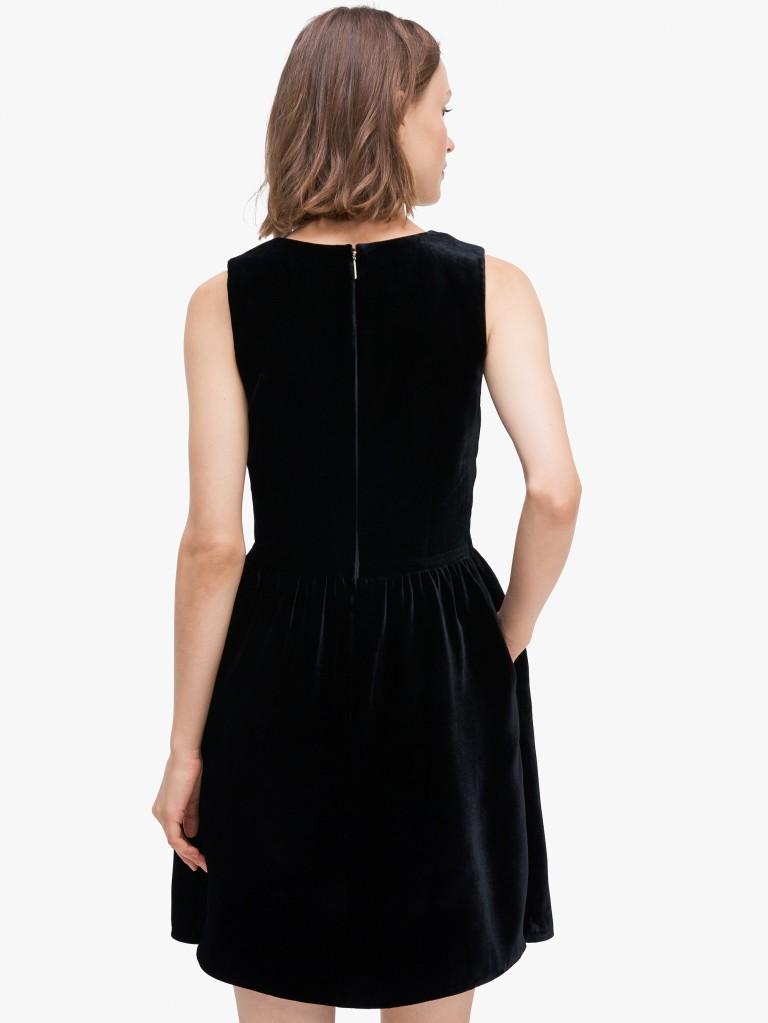 Kate Spadesequin-bow velvet dress back view