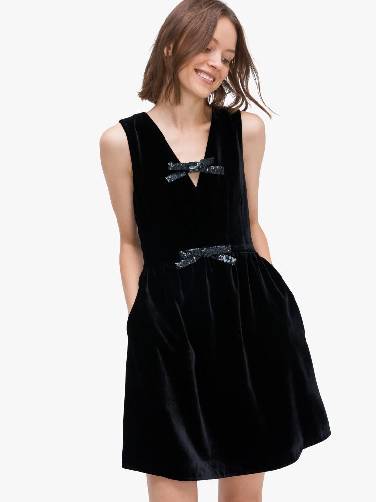 Kate Spadesequin-bow velvet dress