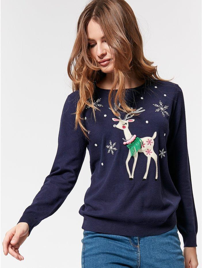 M&CoPetite Reindeer Embellished Christmas Jumper