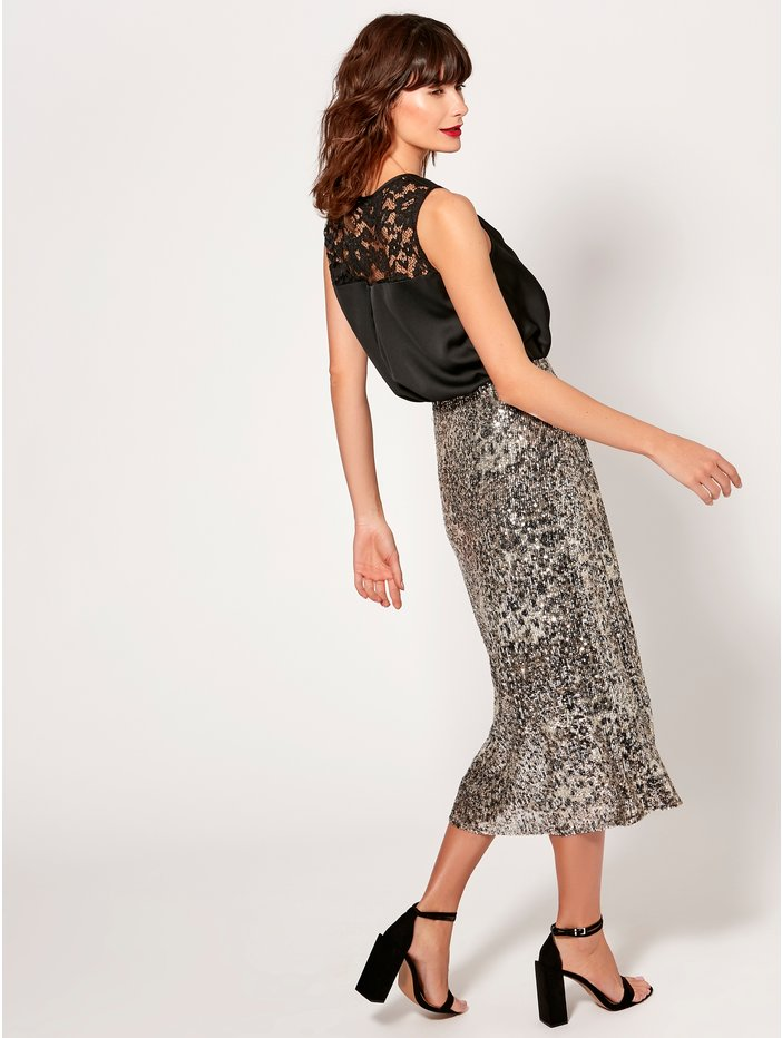 M&Co Sequin Bias Midi Skirt