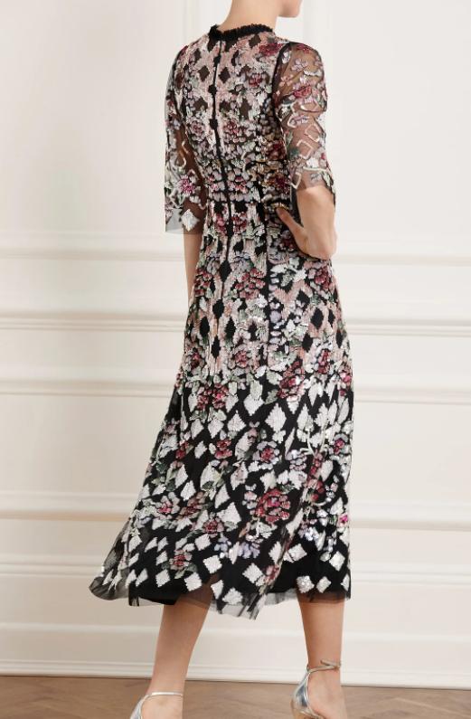 Needle & Thread Harlequin Rose Sequin Ballerina Dress back view