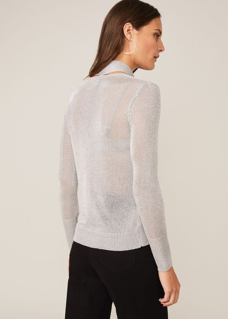 Phase EightMatil Metallic Scarf Knit Top back view