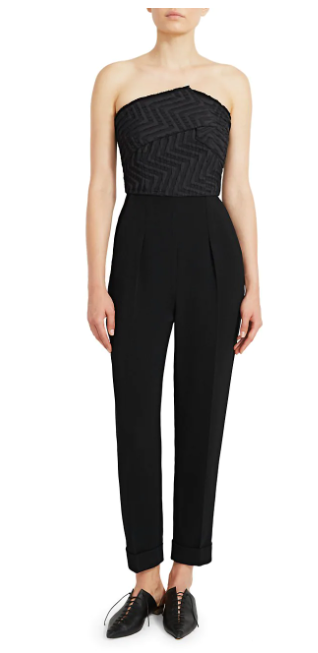 Roland Mouret Haye Strapless Crepe Jumpsuit back view
