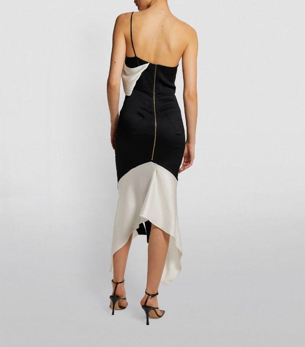 Roland Mouret One-Shoulder Harlow Midi Dress back view