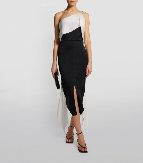 Roland Mouret One-Shoulder Harlow Midi Dress