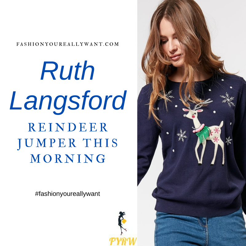 Where to get all Ruth Langsford This Morning outfits blog December 2020 Blue jumper with reindeer and snowflakes