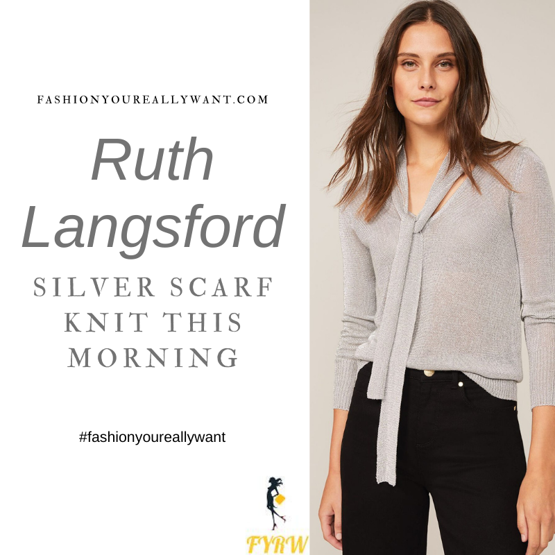 Where to get all Ruth Langsford This Morning outfits blog December 2020 silver glitter tie neck v neck top
