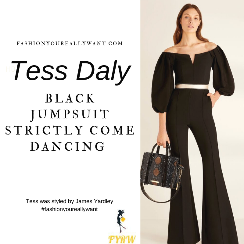 Tess Daly Wore This on Strictly Come Dancing Week 7 Results December 2020 where to get her outfits black jumpsuit black shoes