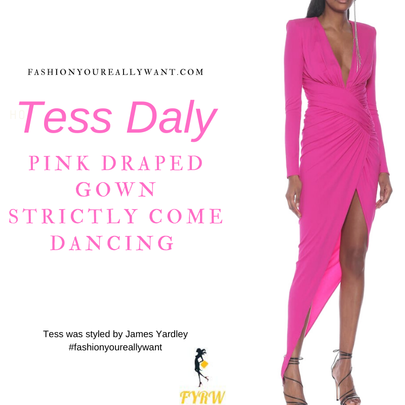 Tess Daly Wore This on Strictly Come Dancing Semi Finals December 2020 where to get her outfits v neck pink draped side split gown pink satin sandals