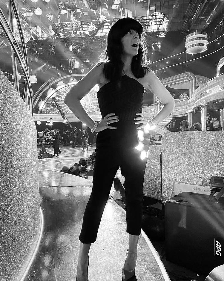 where to get all Claudia Winkleman Strictly outfits black strapless jumpsuit pink court shoes 12 December 2020 Photo Claudia Winkleman
