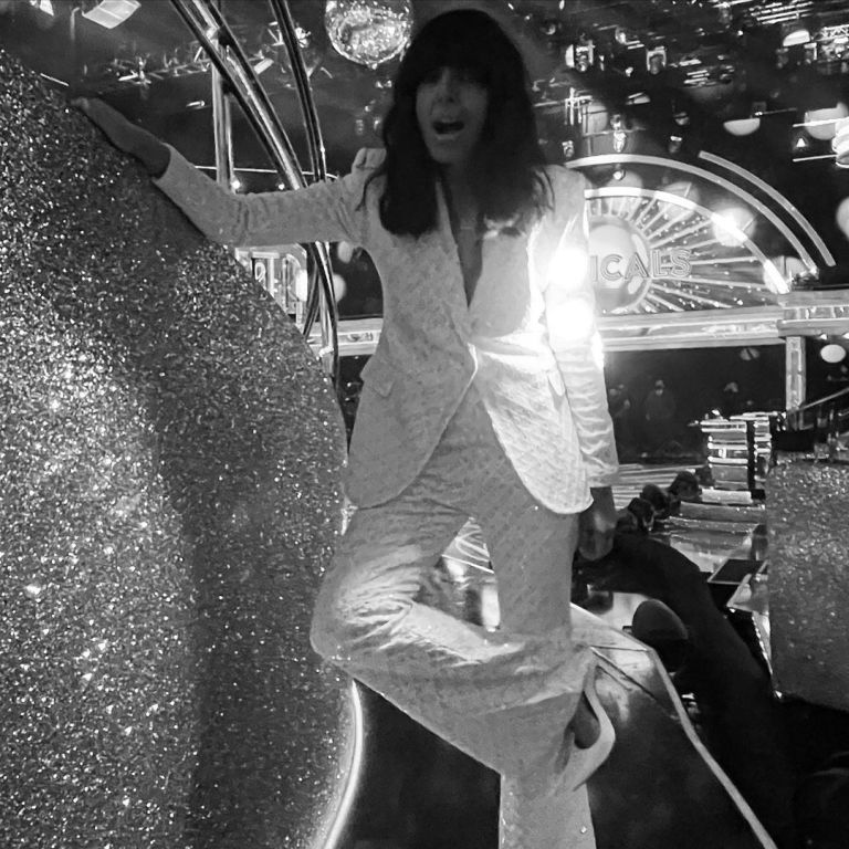 where to get all Claudia Winkleman Strictly outfits white sequin trouser suit 5 December 2020 Photo Sinead McKeefty