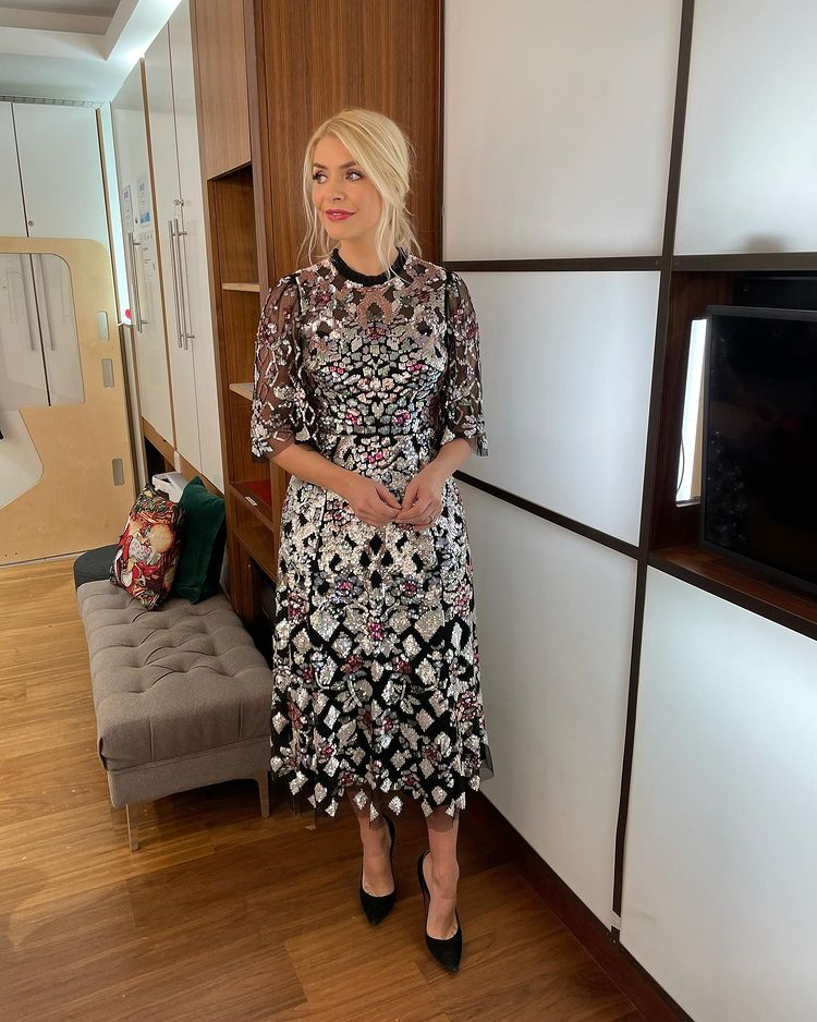 where to get all Holly Willoughby This Morning dresses black harlequin rose sequin dress black suede court shoes 9 December 2020 Photo Holly Willoughby