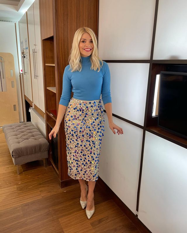 where to get all Holly Willoughby This Morning outfits blue multi sequin skirt blue polo neck silver white shoes 2 December 2020 Photo Holly Willoughby