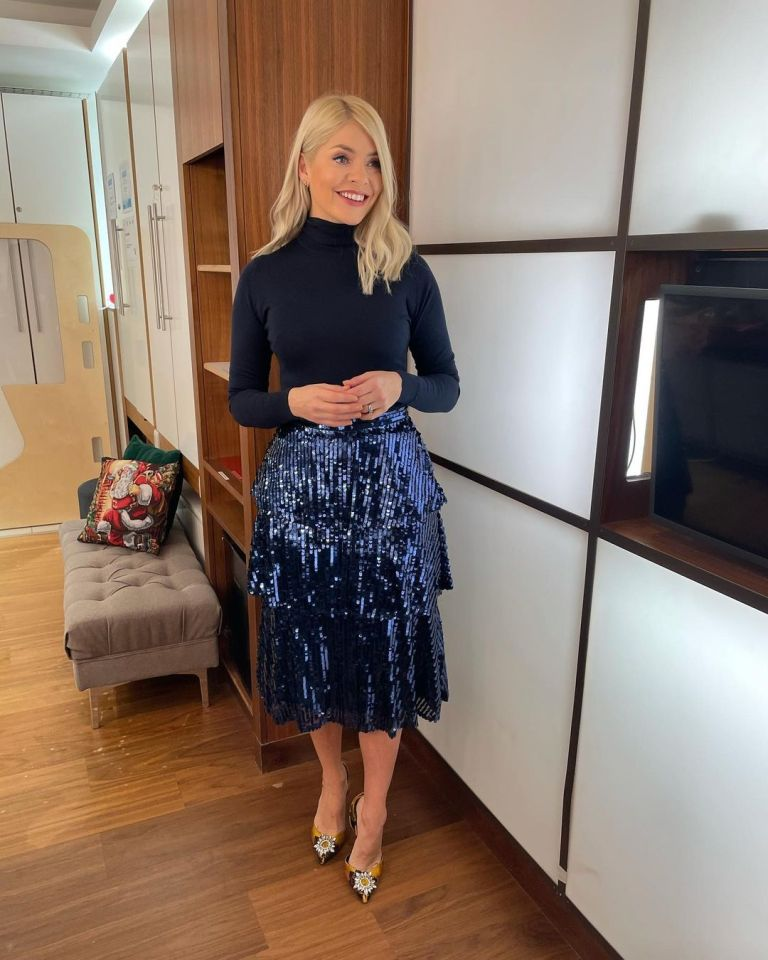 where to get all Holly Willoughby This Morning outfits blue sequin tiered skirt blue knit embellished slingbacks 10 December 2020 Photo Holly Willoughby