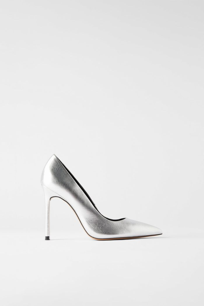 Zara Metallic Leather high Heeled Shoes