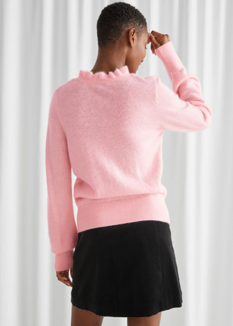 And Other Stories Ruffled Collar Wool Knit Sweater back view