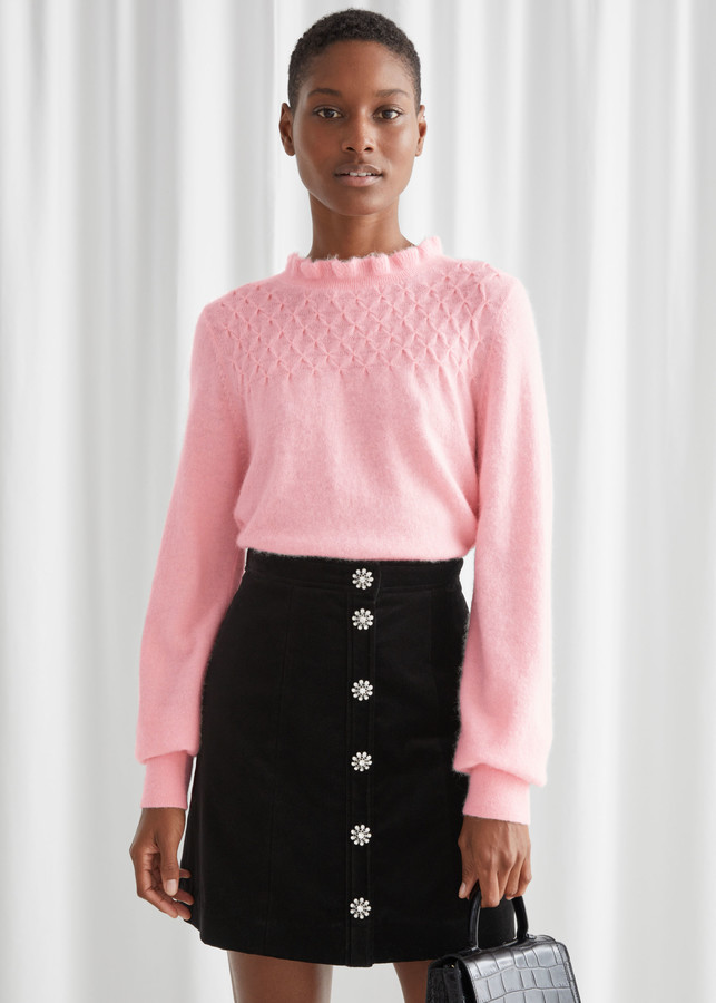 And Other Stories Ruffled Collar Wool Knit Sweater