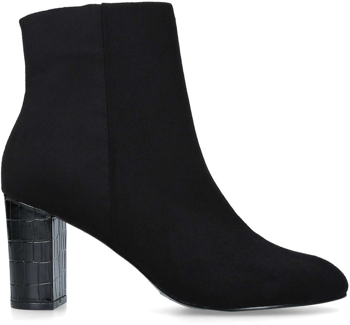 Carvela Simmer Black Block Heel Ankle Boots