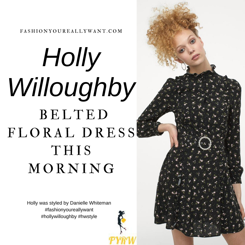 Where to get all Holly Willoughby This Morning outfits blog January 2021 black floral long sleeve mini dress belted black suede ankle boots