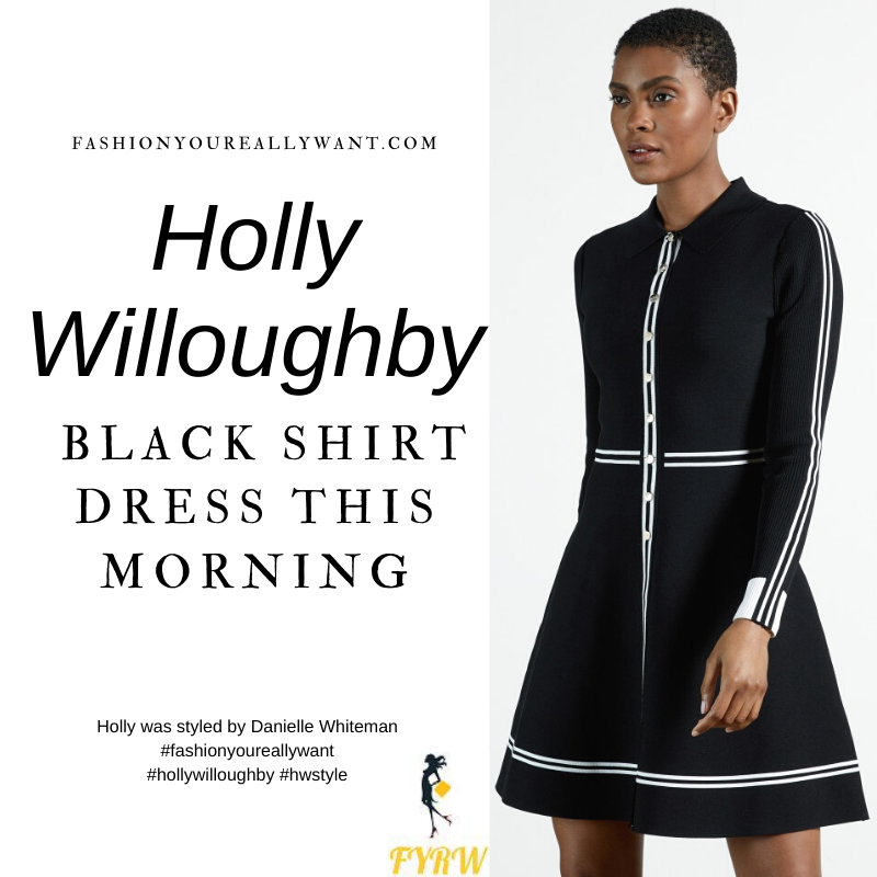 Where to get all Holly Willoughby This Morning outfits blog January 2021 black skater shirt dress with white stripes white polo neck bodysuit black ankle boots