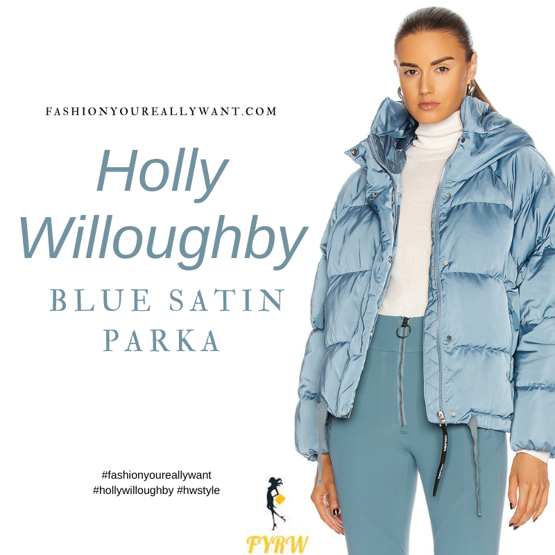 Where to get all Holly Willoughby outfits blog January 2021 blue satin puffer parka jacket Dancing on Ice