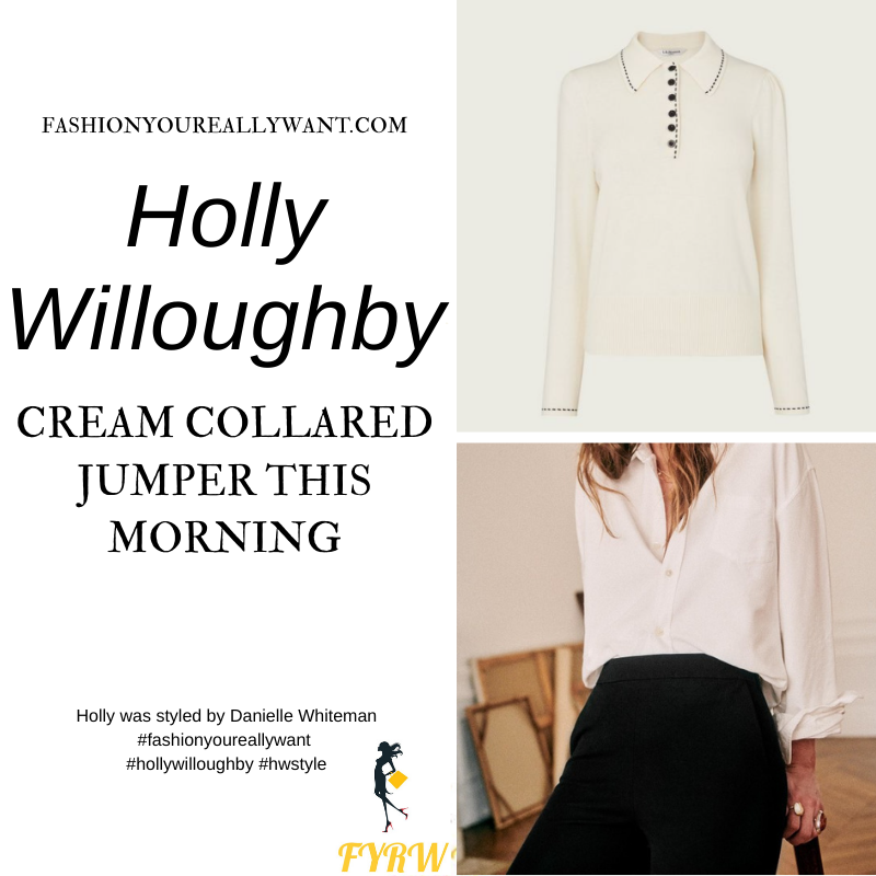Where to get all Holly Willoughby This Morning outfits blog January 2021 cream collar knit black slim trousers black suede court shoes