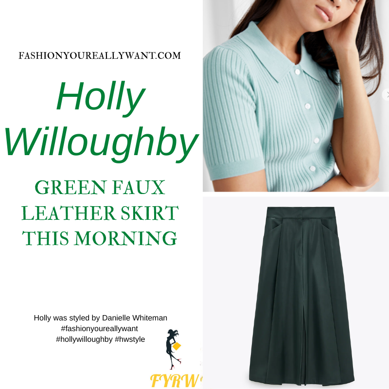 Where to get all Holly Willoughby This Morning outfits blog January 2021 green faux leather midi skirt turquoise ribbed top green suede court shoes
