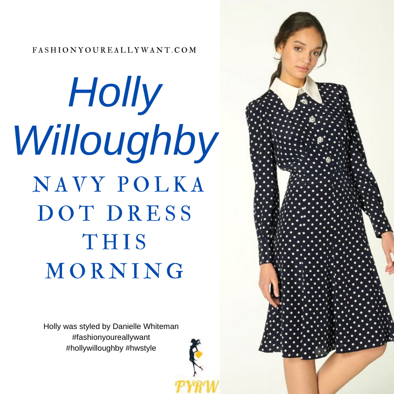 Where to get all Holly Willoughby This Morning outfits blog January 2021 blue and cream polka dot dress with collar and crystal buttons navy suede court shoes
