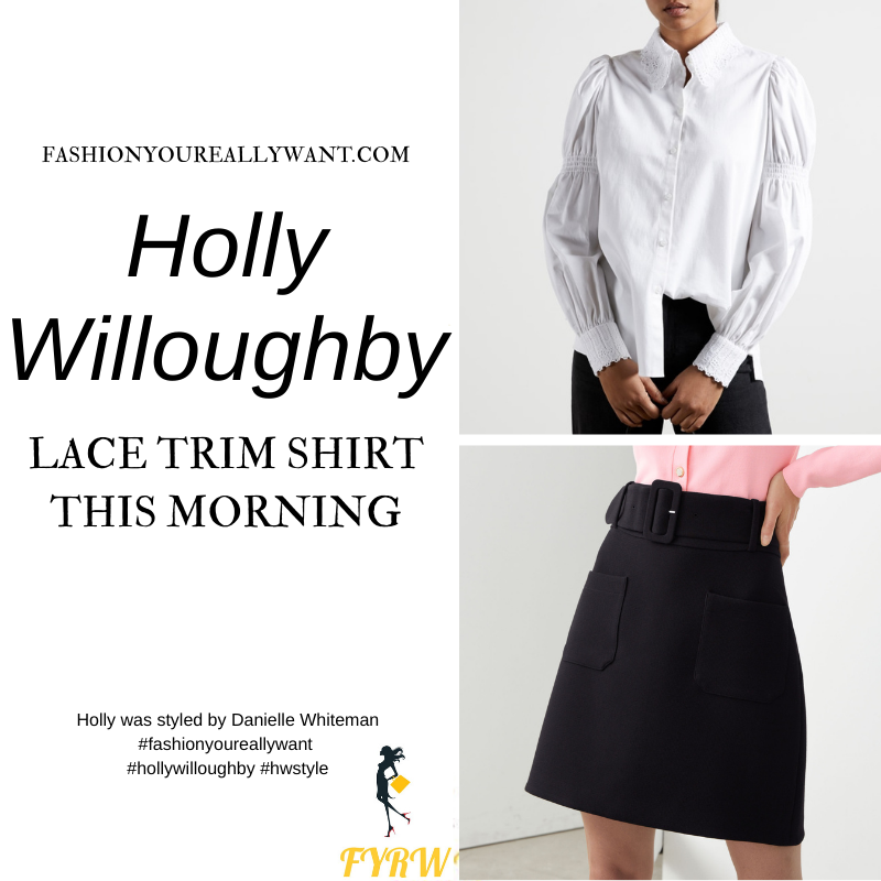 Where to get all Holly Willoughby This Morning outfits blog January 2021 white lace trim shirt black mini skirt black suede court shoes