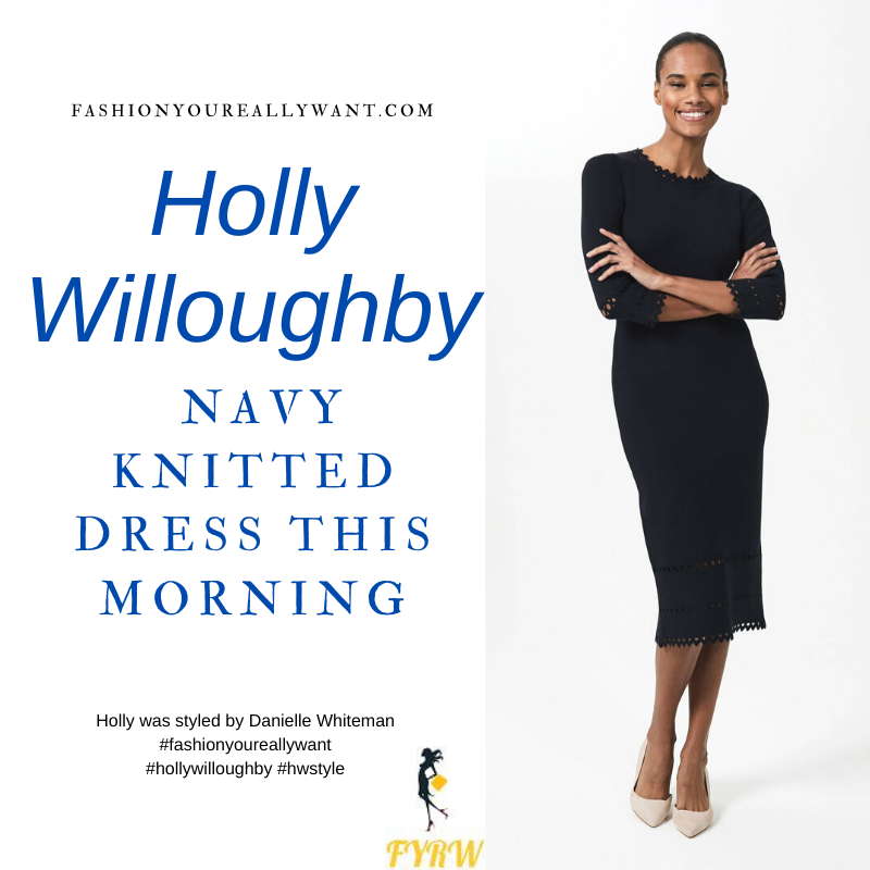 Where to get all Holly Willoughby This Morning outfits blog January 2021 navy knitted dress with laser cut detail navy suede court shoes