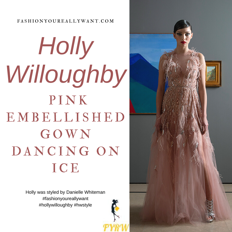 Where to get all Holly Willoughby Dancing on Ice outfits blog January 2021 pink embellished feather gown