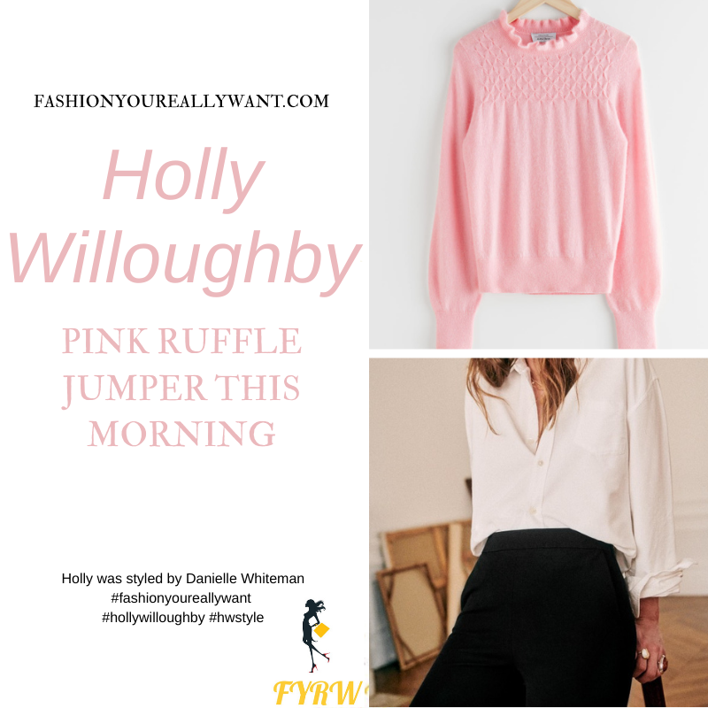 Where to get all Holly Willoughby This Morning outfits blog January 2021 pink ruffle neck jumper black slim trousers black suede court shoes