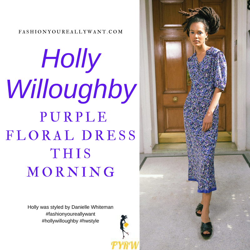 Where to get all Holly Willoughby This Morning outfits blog January 2021 purple floral elbow sleeve midi dress black suede court shoes
