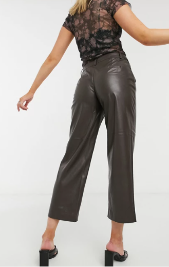 Only Faux Leather Trousers back view