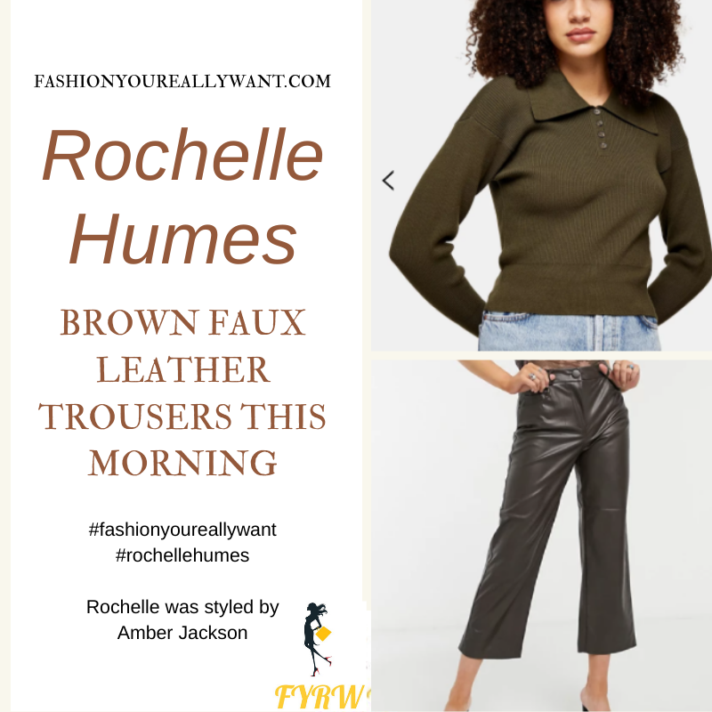Where to get all Rochelle Humes This Morning outfits blog January 2021 brown faux leather trousers khaki button neck knit snakeskin mules