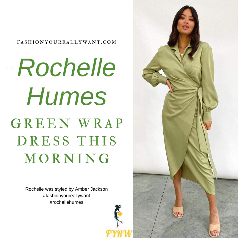 Where to get all Rochelle Humes This Morning outfits blog January 2021 green long sleeve wrap dress green croc kahki knee high boots