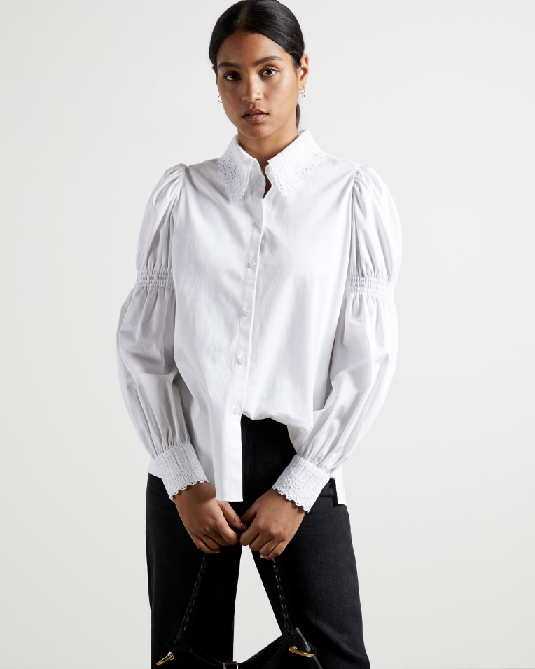 Ted Baker Briona lace-trim stretch-cotton shirt