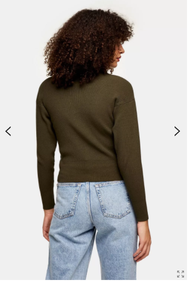 Topshop Khaki Oversized Collar Knitted Top back view