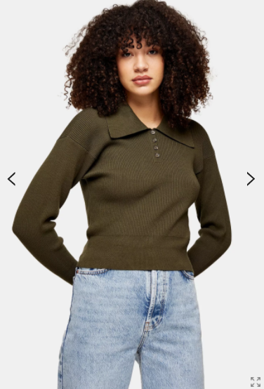 Topshop Khaki Oversized Collar Knitted Top