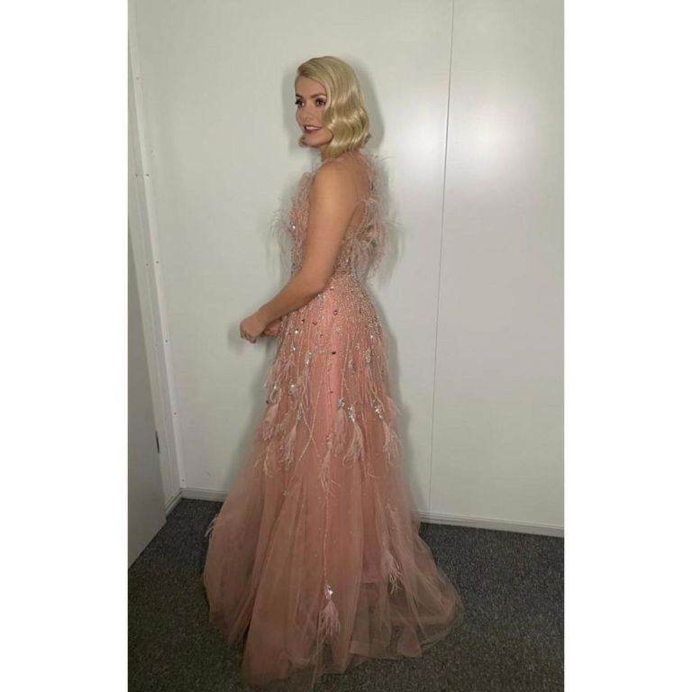 where to get all Holly Willoughby Dancing on Ice dresses pink embellished feather gown 17 January 2021 Photo Holly Willoughby