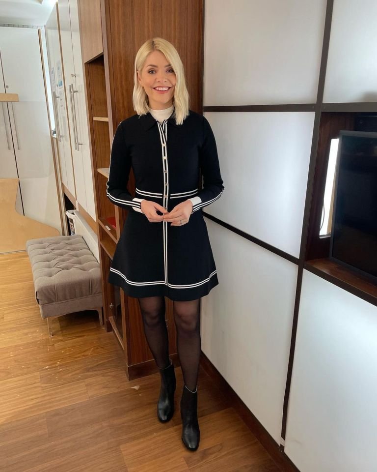 where to get all Holly Willoughby This Morning dresses black shirt dress white stripes black ankle boots 20 January 2021 Photo Holly Willoughby