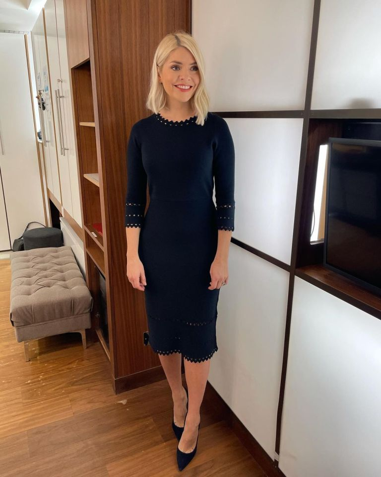 where to get all Holly Willoughby This Morning dresses navy knitted dress lace knit blue suede court shoes 28 January 2021 Photo Holly Willoughby