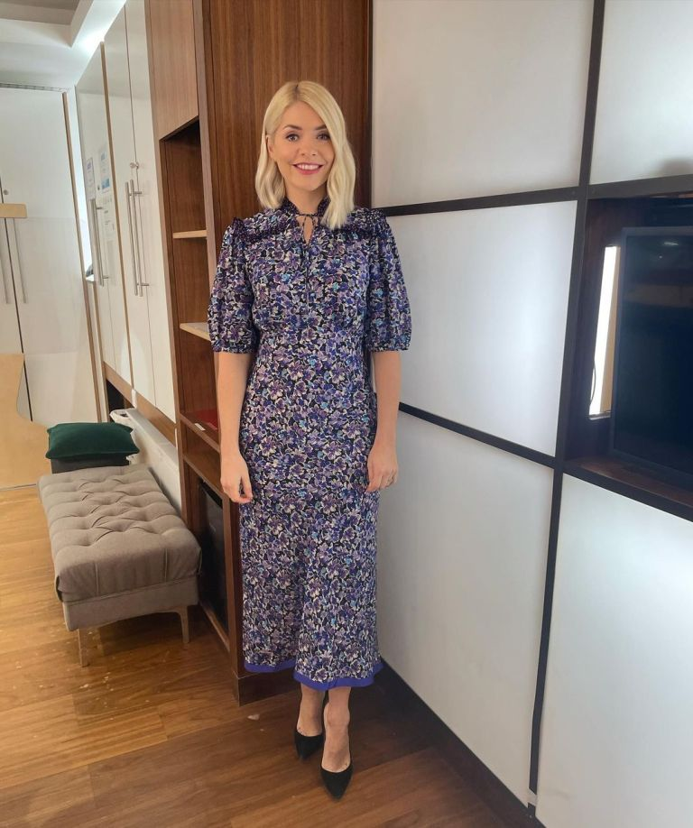 where to get all Holly Willoughby This Morning dresses purple floral midi dress black suede court shoes 18 January 2021 Photo Holly Willoughby