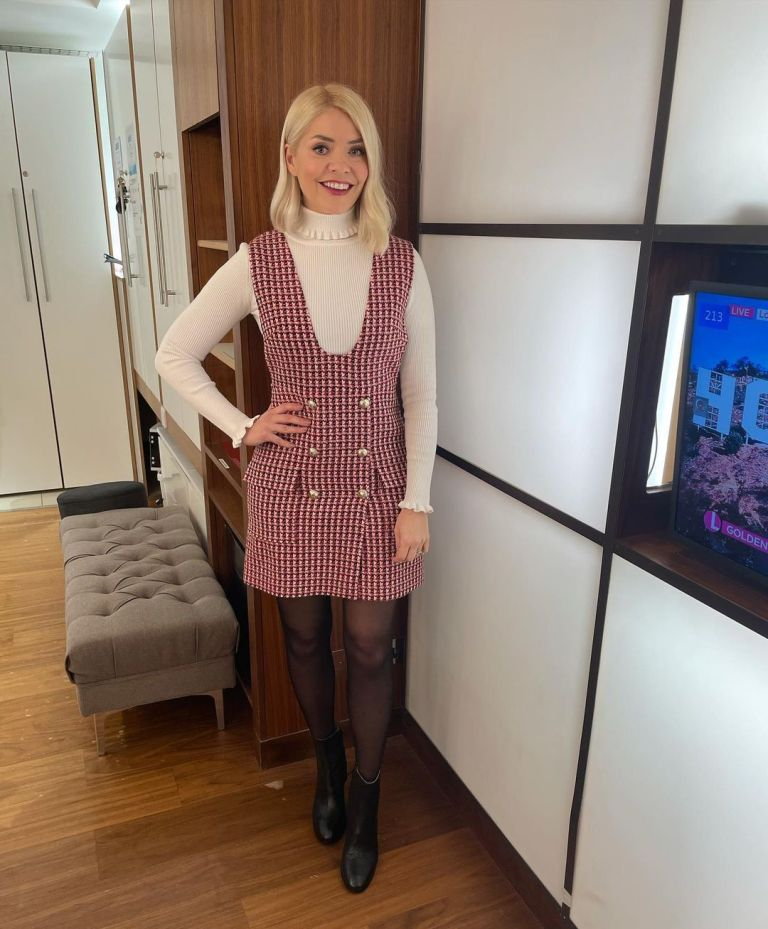 where to get all Holly Willoughby This Morning dresses red tweed dress cream ruffle polo neck black ankle boots 4 February 2021 Photo Holly Willoughby