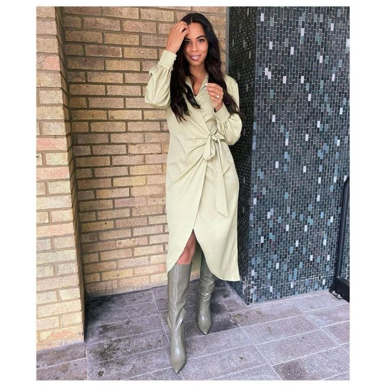 where to get all Rochelle Humes This Morning dresses green wrap dress grey knee high boots 4 January 2021 Photo Amber Jackson