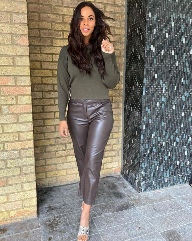 where to get all Rochelle Humes This Morning outfits khaki button neck knit brown faux leather trousers snakeskin mules 5 January 2021 Pgoto Rochelle Humes